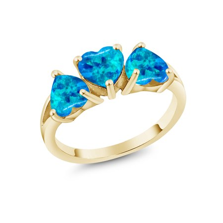 2.25 Ct Heart Shape Blue Simulated Opal 18K Yellow Gold Plated Silver Ring
