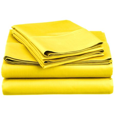 1800 Greek Collection 16-inch Deep Pocket Super Soft 4-Piece Bedding Sheet Set Twin Yellow