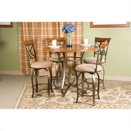 5 Piece Cherry Finish Wood - Powell 5 Piece Hamilton Gathering Set with Swivel Counter Stools, Cherry