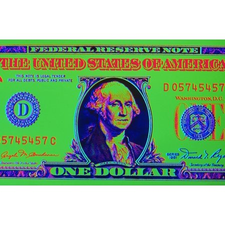 Close-Up Detail American Dollar Bill George Washington In Center Colors Are Surreal Posterized Rolled Canvas Art - Vinta Washington Dollar Roll