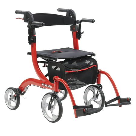 Drive Medical Nitro Duet Dual Function Transport Wheelchair and Rollator Rolling Walker, (Drive Medical Duet Transport Wheelchair Rollator Walker Burgundy)