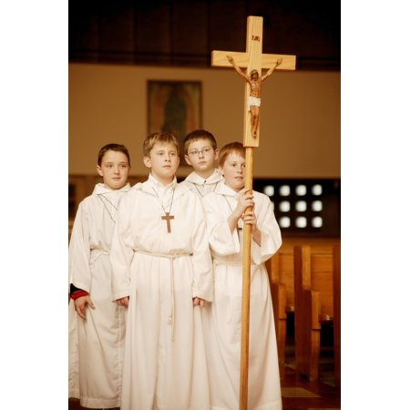 Catholic Teens Walking With Cross Poster Print by Con Tanasiuk  Design Pics (Teen Pics Categories)