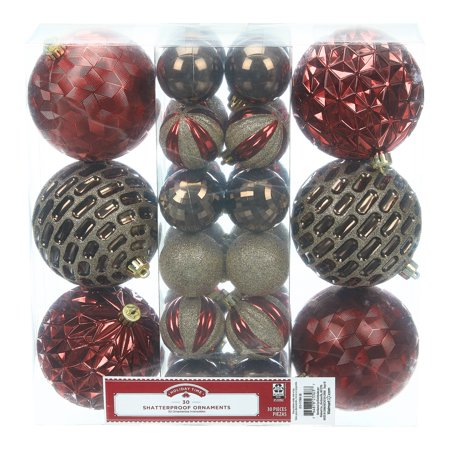 Holiday Time Shatterproof Ornaments, 30-Count, Red Brown Gold Holiday Pierced Ornament