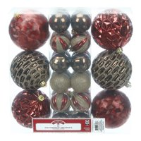 Holiday Time Shatterproof Ornaments, 30-Count, Red Brown Gold