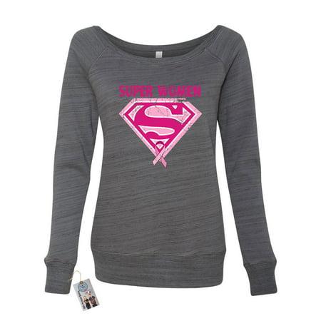Breast Cancer Awareness Superwoman Womens Off the Shoulder Wideneck Sweatshirt - Female Superwoman