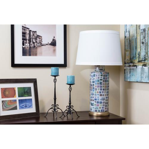 Somette  Nostalgic Stamps Cylindrical Table Lamp