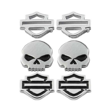 Women's Bar & Shield/Skull Stud Earrings Set - 3 Styles HDS0005, Harley Davidson