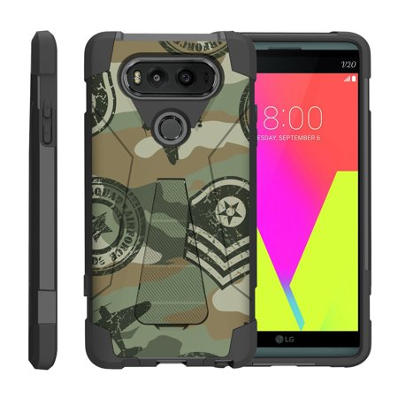 TurtleArmor ® | For LG V20 VS995, H990, LS997 [Dynamic Shell] Dual Layer Hybrid Silicone Hard Shell Kickstand Case - Military Squad