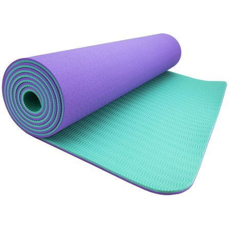"Wacces TPE Exercise Fitness Yoga Gym Training Premium Mat 72""x 24""x 1/4"" Dual Reversible Non-Slip 6mm ( Lilac - Turquoise )"