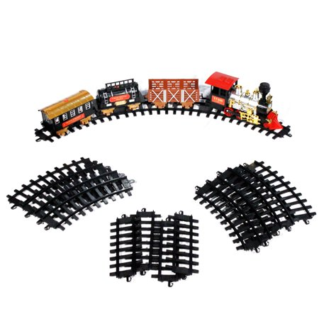 Classic Holiday Train Set Toy with Track Lights Sound and Steam