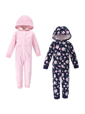 Hudson Baby Toddler Girl Fleece Jumpsuits & Coveralls, 2-Pack