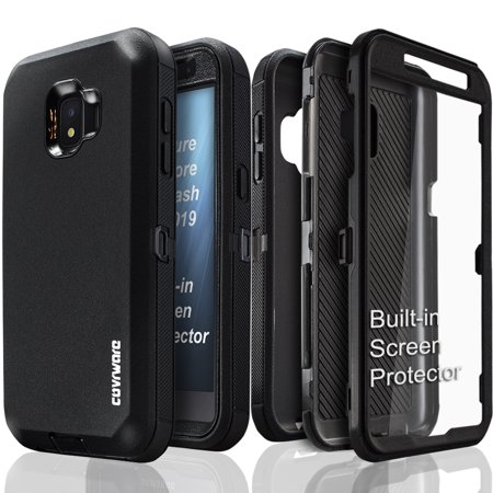 Samsung Galaxy J2 Pure / J2 Core / J2 Dash / J2 (2019) Case, COVRWARE [Tri Series] with Built-in [Screen Protector] Heavy Duty Full-Body Triple Layers Protective Armor Cover, Black ()