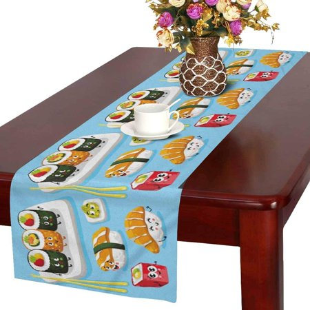 MKHERT Funny Cartoon Sushi Emoji Cute Emoticon Face of Japanese Food Table Runner for Office Kitchen Dining Wedding Party Banquet 16x72 Inch - Funny Food Face