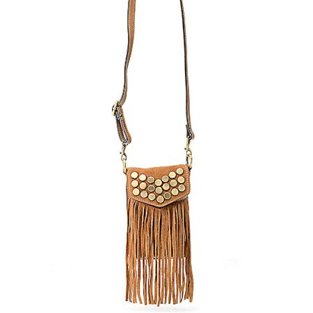 Firenze Bella Lia Suede & Smooth Leather Studded & Fringed Pouch in Cognac