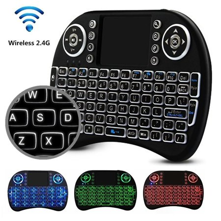 Mini 2.4GHz USB Wireless Keyboard with Touchpad Mouse for Windows PC, Raspberry Pi, Android TV Box, Slideshow Presenter, and More. Portable QWERTY Keypad Features Enhanced Function Keys LED Backlit