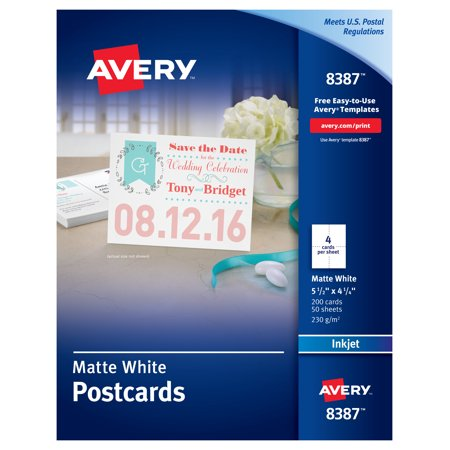 Avery(R) Postcards, Matte, Two-Sided Printing, 4-1/4