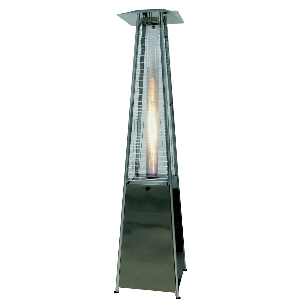 Palm Springs Pyramid Quartz Glass Tube Flame Patio Heater Stainless Steel by