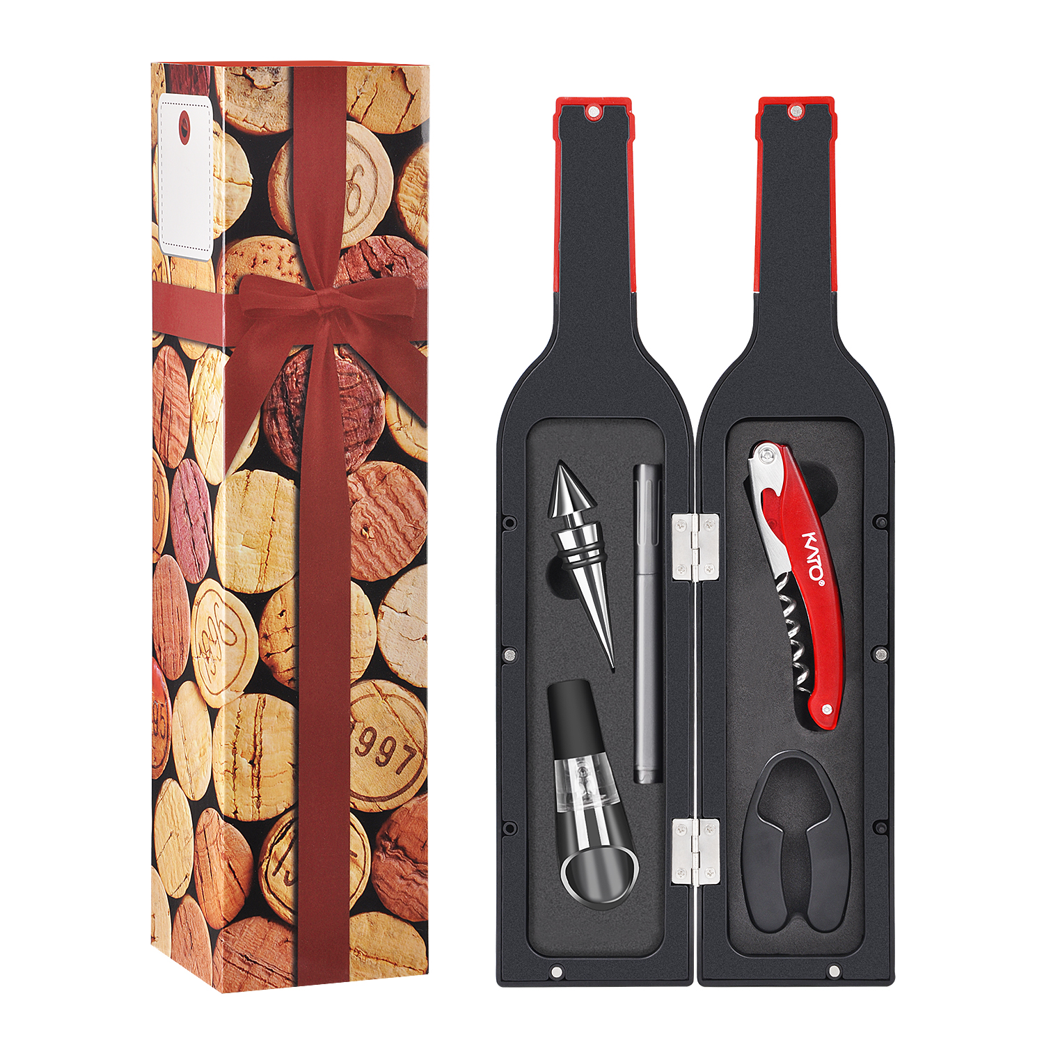 Deluxe Wine Opener Gift Set- Wine Bottle Accessory Kit, Corkscrew Opener, Wine Stopper, Aerator Pourer, Foil Cutter, Glass Paint Marker and Reusable Drink Stickers by Kato, Best Gift for Wine Lover