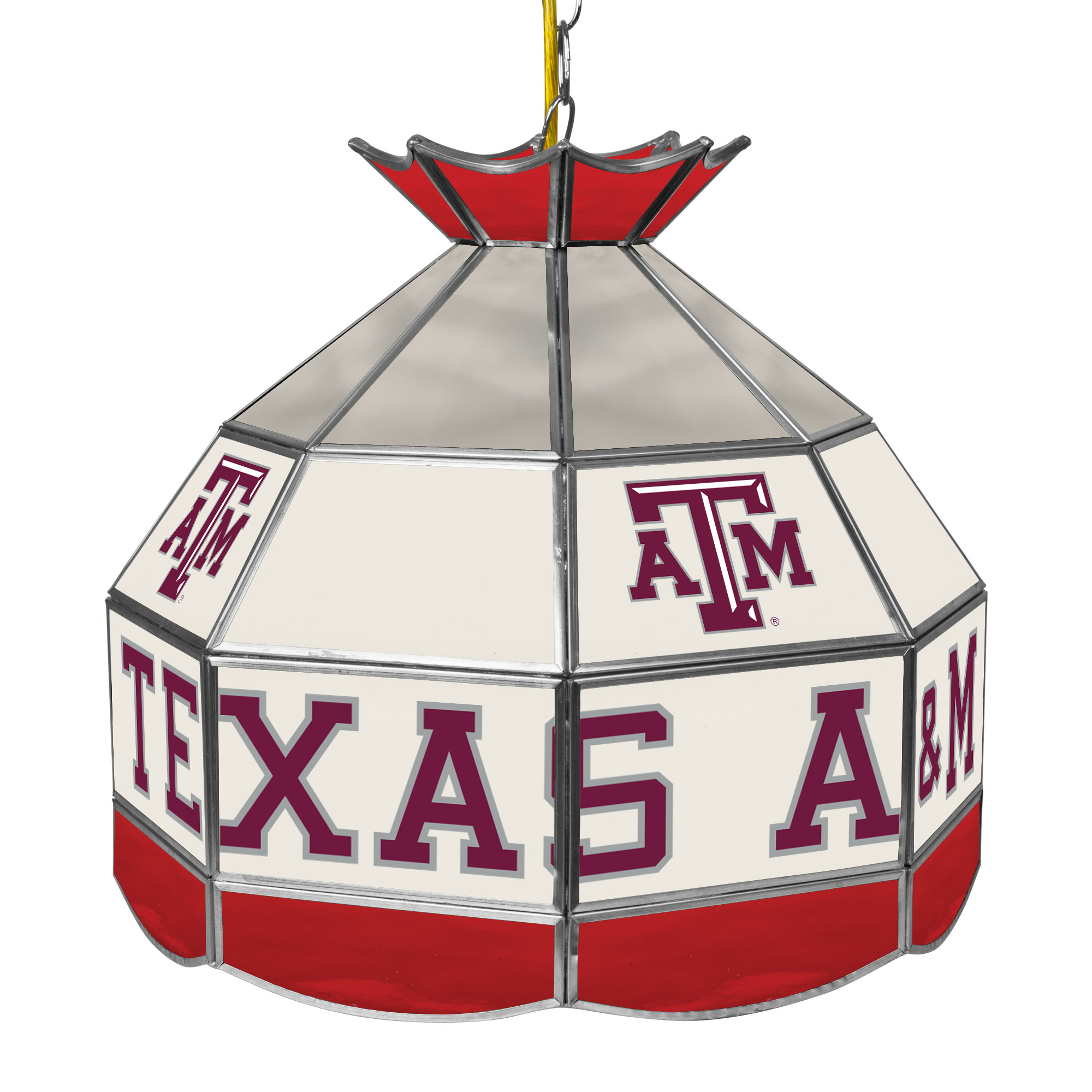 """NCAA Texas A&M University 16"""" Stained Glass Tiffany Lamp Light Fixture"""