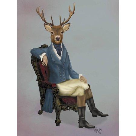Whimsical Fun Folk Art - Distinguished Deer Full Fun Whimsical Anthropomorphic Animal Portrait Painting Print Wall Art By Fab Funky