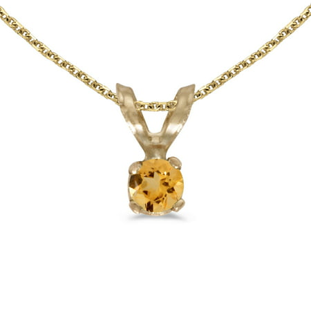 "10k Yellow Gold Round Citrine Pendant with 16"" Chain"