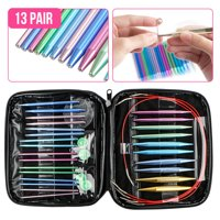 EEEkit Knitting Needles set, 13 Pairs 13 Sizes Aluminum Circular Knitting Needles, 4 Circular Plastic Wires : Size:2.75 mm-10.0 mm with Storage Case for Any Crochet Patterns & Yarns Projects
