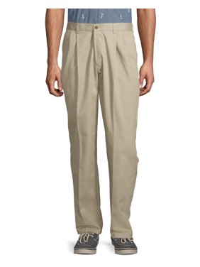 George Men's Wrinkle Resistant Pleated 100% Cotton Twill Pant with Scotchgard