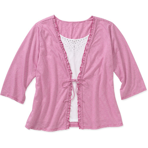 Women's Plus-Size Embellished 2-fer Cardigan Top