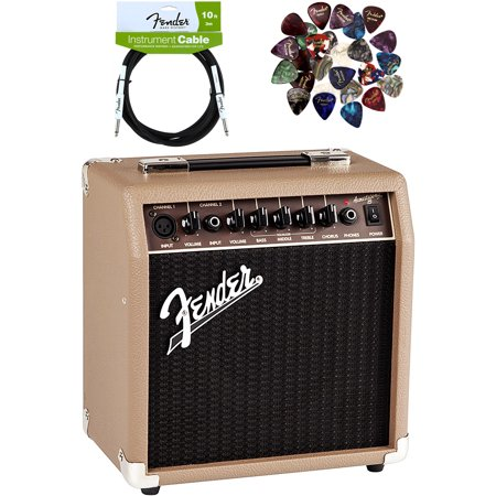 Fender Acoustasonic 15 Acoustic Guitar Amplifier - Brown and Wheat Bundle with Instrument Cable, Pick Sampler, and Austin Bazaar Polishing Cloth
