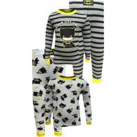 Justice League Boys' Batman Gotham City Finest 4 Piece Cotton Toddler Pajamas