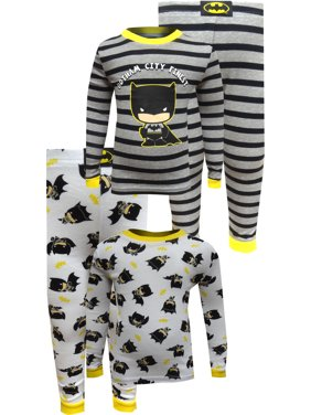 Justice League Boys' Batman Gotham City Finest 4 Piece Cotton Toddler Pajamas