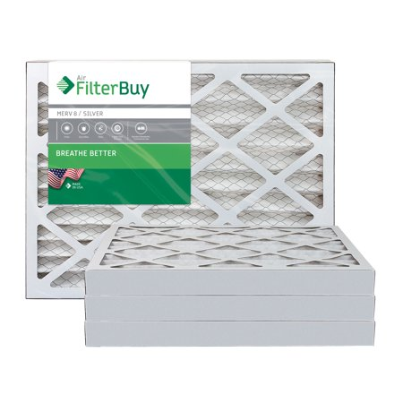 AFB Silver MERV 8 20x25x2 Pleated AC Furnace Air Filter Pack of 4 Filt