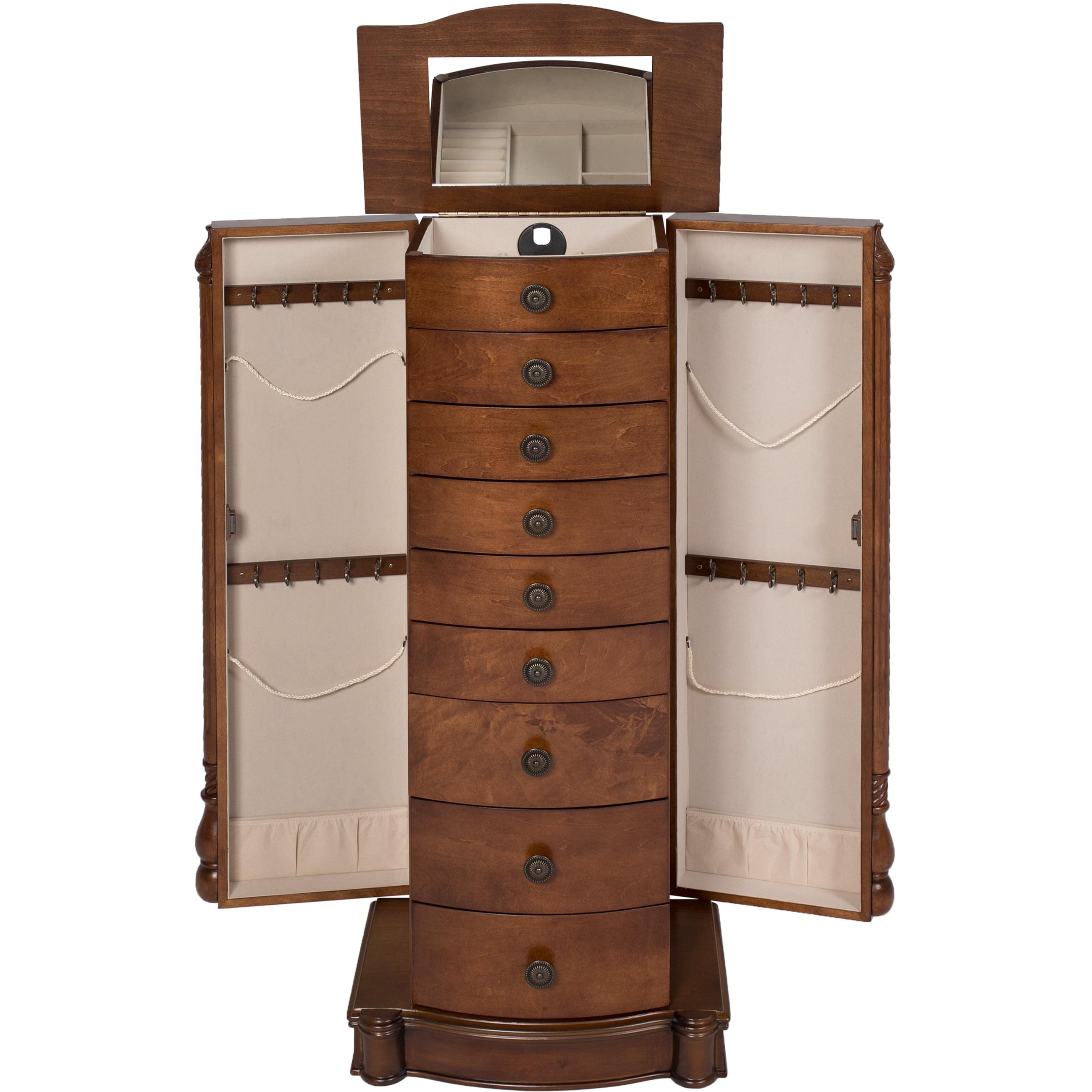 Armoire Jewelry Cabinet Box Storage Chest Stand Organizer Necklace Wood Walnut - Walmart.com  sc 1 st  Walmart & Armoire Jewelry Cabinet Box Storage Chest Stand Organizer Necklace ...