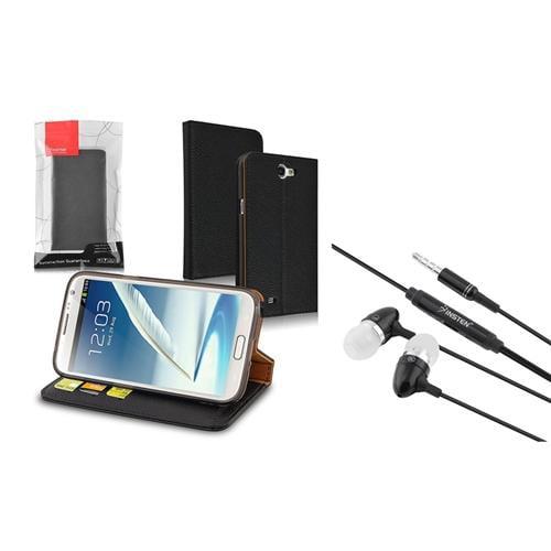 Insten Leather Wallet Case+Earphone Headset For Samsung Galaxy Note 2 II