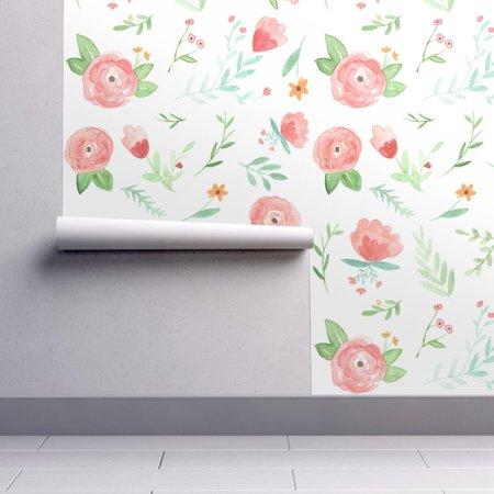 Wallpaper Roll Happy Floral Watercolor Nursery 24in x 27ft