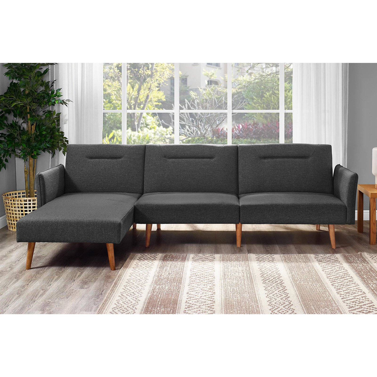 DHP Brent Upholstered Sectional Futon Couch, Multiple Colors