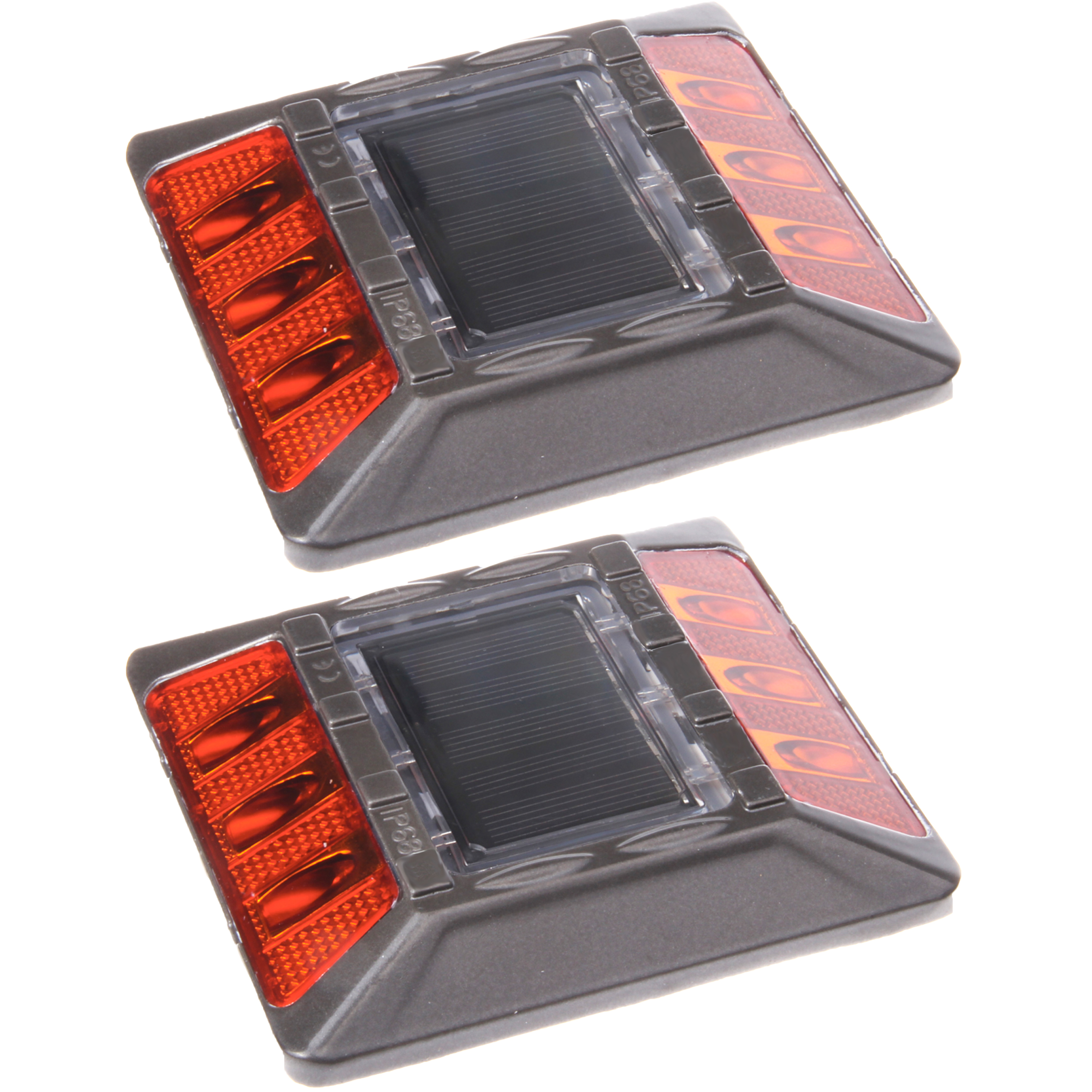 2 Pack Amber Aluminum Solar Road Stud Path Dock LED Light w Recessed Anchor