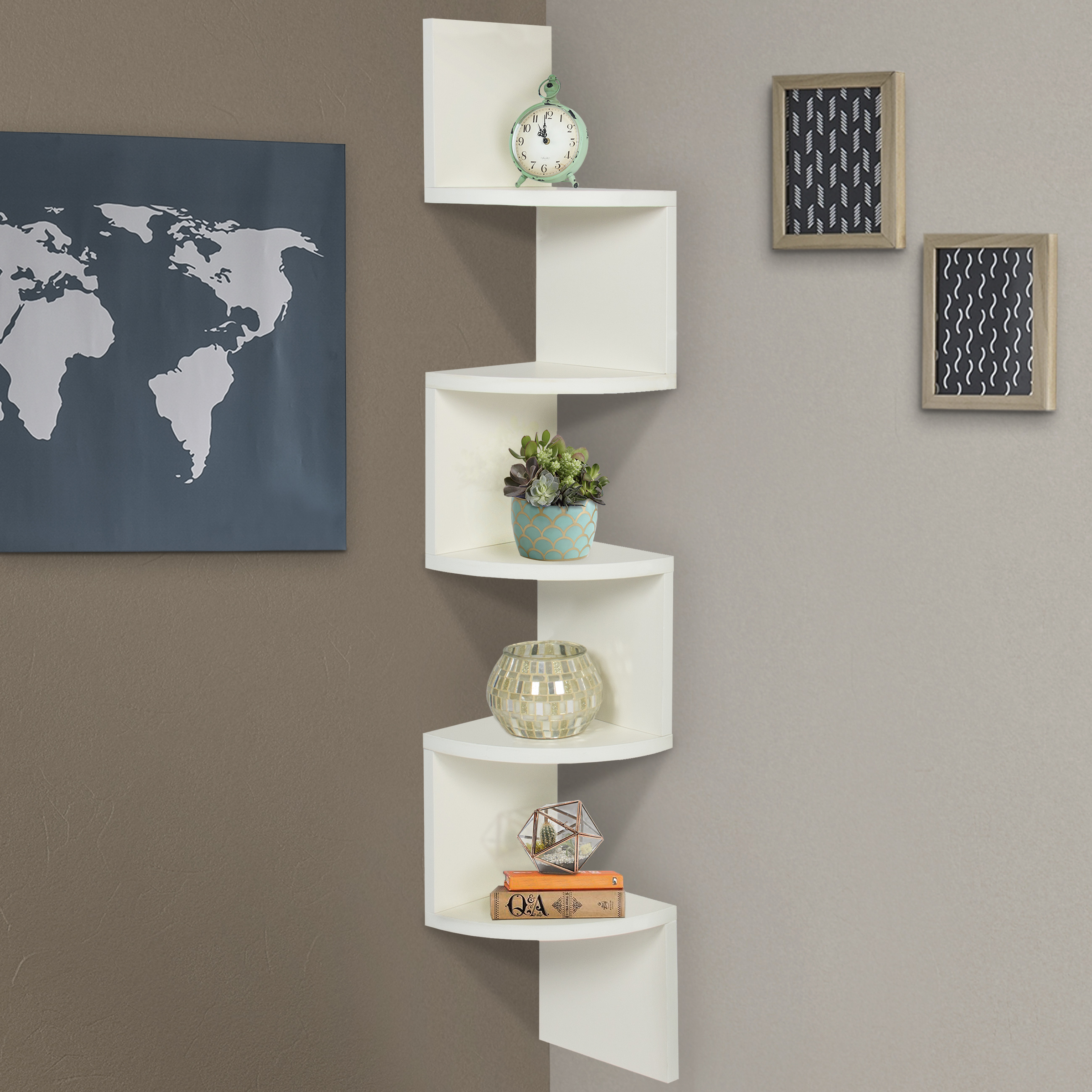 Large Corner Wood Zig Zag Wall Shelf White Finish Home