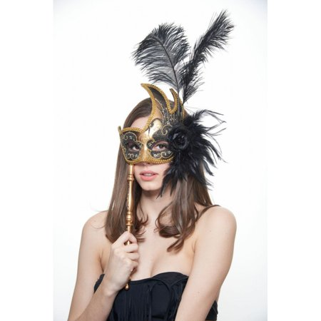 KAYSO INC FSM003BKGD BLACK AND GOLD HAND-HELD GORGEOUS PINK MASQUERADE MASK WITH FEATHER AND FLOWER ARRANGEMENT ()