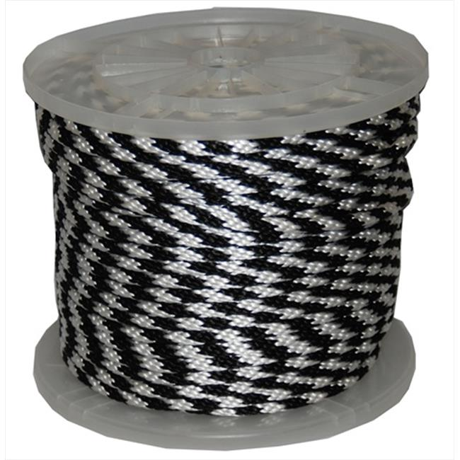 T. W.  Evans Cordage 98020 . 625 inch x 200 ft.  Solid Braid Propylene Multifilament Derby Rope in Black and White