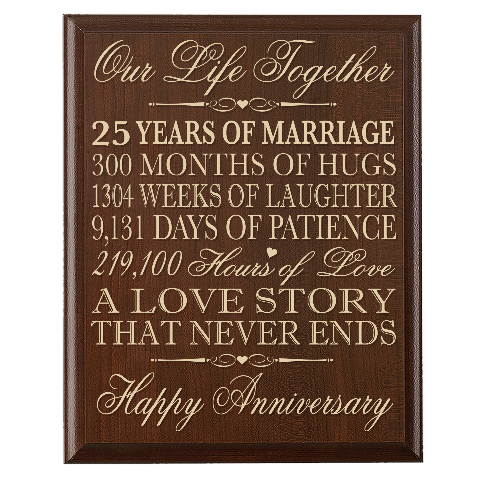 Details about  /Happy 25th Anniversary Glass Plaque