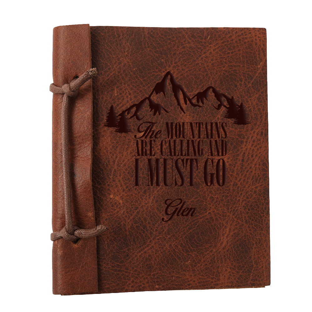 "The Mountains Are Calling Custom Leather Journal, Large: 8.8"" x 5.85"""