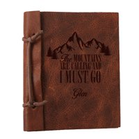 """The Mountains Are Calling Custom Leather Journal, Large: 8.8"""" x 5.85"""""""