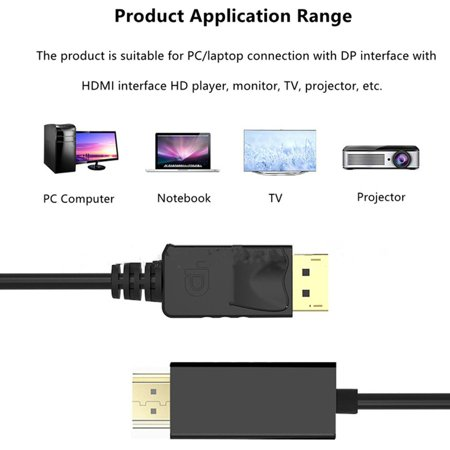 1.8 Meters Super Long Gold Plated DisplayPort DP to HDMI PC Laptop HDTV Cable - image 3 of 8