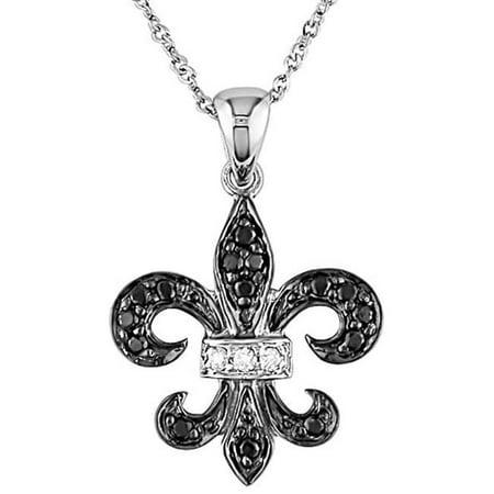 10k Gold 1/8ct Black and White Diamond Fleur De Lis (Fleur De Lis Diamond Necklace)