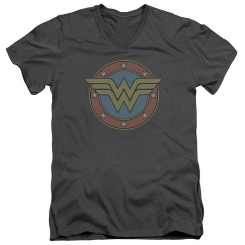 DC Comics Wonder Woman Vintage Emblem Mens V-Neck Shirt Charcoal 2X