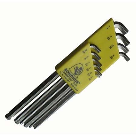 Bondhus 16738 10 PC Stubby Ball End Tip Hex Key L-Wrench Set w/BriteGuard