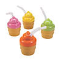 Ice Cream Cone Cups with Lids & Straws