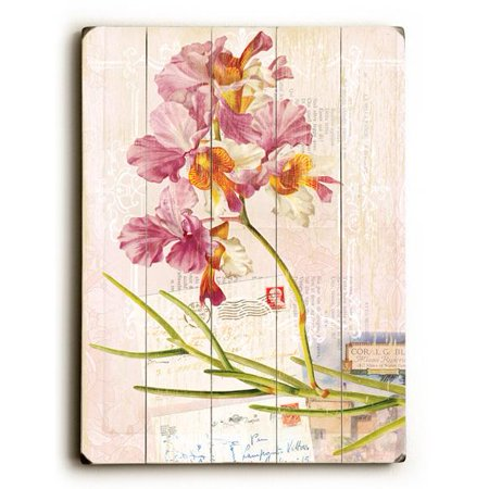 """ArteHouse Decorative Wood Sign """"Pink Orchid"""" by Artist Cory Steffen, 14"""" x 20"""", Planked Wood"""