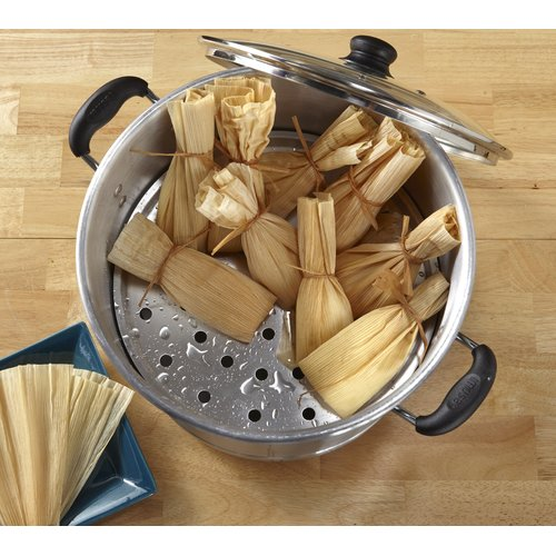 IMUSA MEXICANA-432 Tamale and Seafood Steamer with Glass Lid 32-Quart, Silver